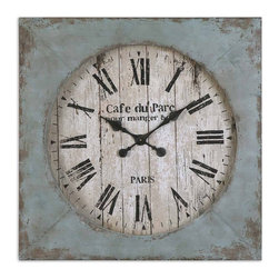 Oversize French Blue Wall Clock - *Distressed, aged blue finish with rust undertones and an antiqued clock face.