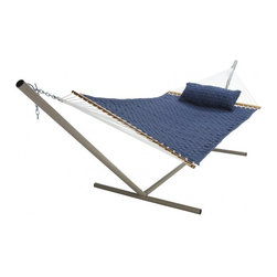 "Pawleys Island - Large SoftWeave Hammock - Blue - The wicker-like weaving pattern of cushiony, cottony-soft, all-weather fabric ribbons is as charming to look at and comfy to recline in as it is tough against the elements.  Hammock stand and pillow sold separately.  Total length 13', bed size 55x82""."