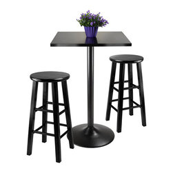 Winsome - Winsome Obsidian 3 Piece Pub Table with 24 inch Stools in Black - Winsome - Dining Sets - 20323 - Great for a covered porch or breakfast nook this pub table with matching stools fits just right in tight spaces! Entertain a friend with coffee and muffins on the table's glossy black surface. Sit in comfort and people watch from the porch on a summer day seated on high stools where you can see all the action!