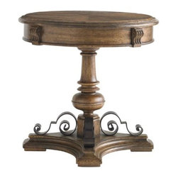 Stanley - La Palma Lamp Table - The round top,  turned posts and hand-forged wrought iron scrolls of La Palma exude casual elegance.