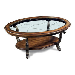 Riverside Furniture - Ambrosia Oval Coffee Table in Terra-Sienna Finish - Tempered glass insert with etched V-groove pattern