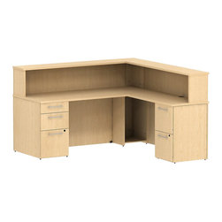 """Bush - Bush 300 Series 72"""" L-Shape Reception Desk with Hutch in Natural Maple - Bush - Commercial Grade Office - 300S073AC - Surround yourself with stately elegance and efficiency when making your own custom reception area via the BBF Modern Cherry 300 Series 72""""W x 72""""D Reception Gallery L-Desk (F/F and B/B/F). The 72""""W Reception L-Desk lets you spread out in two directions on its ample work surface. Two box drawers hold supplies and one file drawer accommodates letter- legal- or A4-size files on one side. Two file drawers offer additional storage on other side of L-Desk. Versatile L-setup provides plenty of workspace and 14-inch high reception counter serves as a comfortable place for clients or visitors to stand. Built in cubby runs the length of both """"L's"""" and hides unsightly clutter. Desktop grommets provide easy access and concealment of unsightly wires, cords or cables. Diamond Coat (TM) top surfaces are scratch/stain resistant. Tough edge banding resists dents, dings and nicks. Modern Cherry finish complements any office decor and matches other 300 Series pieces."""