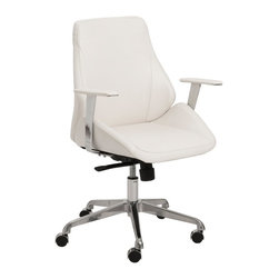 Euro Style - Euro Style Bergen Low Back Office Chair - White / Aluminum - 00475WHT - Shop for Chairs from Hayneedle.com! The Euro Style Bergen Low Back Office Chair - White / Aluminum just might be your new favorite co-worker. Covered in easy-to-clean white leatherette upholstery this chic seat features cozy foam fill a laminated wood internal frame chrome-finished aluminum base and polyurethane casters with stainless steel hoods that won t scratch or mark your hardwood floor. Plus a four-position tilt mechanism lets you choose your favorite angle. Made of BIFMA-approved components.About Euro StyleEuro Style is more than a brand name. It's a complete design approach for furnishing the living room dining room kitchen and office. Most Euro Style furniture can be assembled in under fifteen minutes. Some can be assembled in under five minutes. Assembly instructions and the few tools you might need come inside the carton. Today there are hundreds of Euro Style products with new ones arriving every month. You'll discover Euro Style offers the right design at the right price.