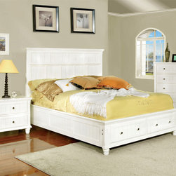 Furniture of America - Furniture of America Delia Transitional 2-Piece White Cottage Style Bed with Nig - This charming cottage style bedroom set features a storage style bed with two drawers for stowing away linens,and a slatted wood window design adorns the entire set. Available in two colors.