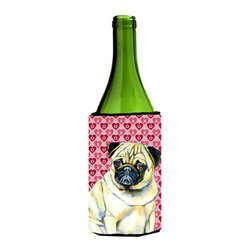 Caroline's Treasures - Pug Hearts Love and Valentine's Day Portrait Wine Bottle Koozie Hugger - Pug Hearts Love and Valentine's Day Portrait Wine Bottle Koozie Hugger Fits 750 ml. wine or other beverage bottles. Fits 24 oz. cans or pint bottles. Great collapsible koozie for large cans of beer, Energy Drinks or large Iced Tea beverages. Great to keep track of your beverage and add a bit of flair to a gathering. Wash the hugger in your washing machine. Design will not come off.