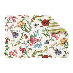 C F enterprises - Embroidered Garden Rectangular Placemat - High quality quilted placemats by C F Enterprise transform your table in fresh colors and styles.   Multi Colored florals on white with a print imitating embroidery stitches.