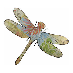 Zeckos - Large Colorful Metal Dragonfly Wall Sculpture 28 in. - Your walls will be buzzing when you hang this dragonfly sculpture Crafted from metal with a colorful decoupage postcard theme, this lightly distressed wall hanging measures 28.5 inches (72 cm) wide, 22.5 inches (57 cm) high and 1.75 inches (4 cm) deep to dress up the inside of your home, the back patio or your garden oasis. This splendid dragonfly wall sculpture easily mounts to the wall with just a single nail or screw using the attached keyhole hanger on the back, and makes a wonderful gift sure to be admired