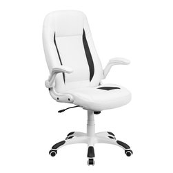 Flash Furniture - Flash Furniture High Back White Leather Executive Office Chair with Flip-Up Arms - Set yourself apart by getting away from the normal office chair with this soft White leather executive office chair by flash furniture. This chair has an attractive design with black insets, flip-up arms and nylon base with black caps that prevent feet from slipping.