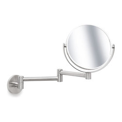 Blomus - Primo Stainless Steel Wall-Mounted Cosmetic Mirror - Wall-mounted. Swivel type. 2x Magnifying mirror on one side. Made of stainless steel, matte finish. Designed by Stotz-Design. 1-Year manufacturer's defect warranty. 7.5 in. Dia. x 10.27 - 14.02 in. L