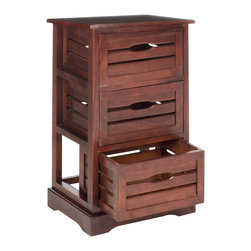 Safavieh - Safavieh Samara Cherry Storage 3-Drawer Cabinet - This rustic three-drawer cabinet is a charming organizational solution that offers plenty of drawer space to help you keep all your home or office tools neat and orderly. The 100 percent pine construction and cherry finish offer durability and style.