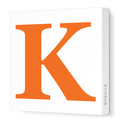 """Avalisa - Letter - Upper Case 'K' Stretched Wall Art, 28"""" x 28"""", Pumpkin - Spell it out loud. These uppercase letters on stretched canvas would look wonderful in a nursery touting your little one's name, but don't stop there; they could work most anywhere in the home you'd like to add some playful text to the walls. Mix and match colors for a truly fun feel or stick to one color for a more uniform look."""