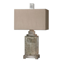 Carolyn Kinder - Carolyn Kinder Canino Traditional Table Lamp X-1-98262 - Ribbed mercury glass with brushed aluminum accents. The rectangle hardback shade is a silken bronze linen fabric with natural slubbing.