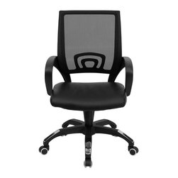 Flash Furniture - Mid-Back Black Mesh Computer Chair with Black Leather Seat - For a contemporary and stylish mesh computer chair for your home or officethere's no need to look any further. This ergonomic task chair with mesh back from Flash Furniture will provide a comfortable and functional addition to any setting. Featuring a cool mesh back, leather seat, and a designer base, this computer chair will provide all the necessities for a home or office desk chair with a few extra features.