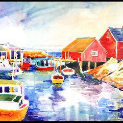 Caroline's Treasures - Boats At Harbour With A View Indoor Or Outdoor Mat 18X27 Doormat - INDOOR / OUTDOOR FLOOR MAT 18 inch by 27 inch Action Back Felt Floor Mat / Carpet / Rug that is Made and Printed in the USA. A Black binding tape is sewn around the mat for durability and to nicely frame the artwork. The mat has been permenantly dyed for moderate traffic and can be placed inside or out (only under a covered space). Durable and fade resistant. The back of the mat is rubber backed to keep the mat from slipping on a smooth floor. Wash with soap & water.