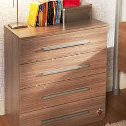 Modern Wood - Chest of drawers in wood finish and metal hardware. Contemporary design and pull drawers make it easy to put away clothes.