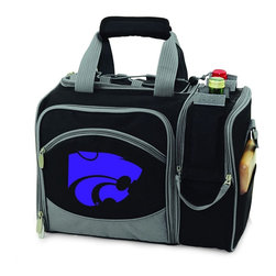 Picnic Time - Kansas State Malibu Picnic Pack in Black - Insulated pack with picnic service for 2 made of 600D polyester canvas. The elegant and unique Malibu shoulder pack is perfect for picnics, concerts, or travel. This tote has an integrated wine storage section and a spacious food storage section with removable liner. The adjustable shoulder strap makes it easy to carry. A wonderful gift idea.; College Name: Kansas State; Mascot: Wildcats; Decoration: Digital Print; Includes: 2 Wine glasses (acrylic), 2 Napkins (cotton 14 x 14 in.), 1 Corkscrew (waiter style stainless steel), 1 Cutting board (wood 6 x 6 in.), 1 Cheese knife (stainless steel w/wood handle), 2 Plates (melamine 9 in.), 2 Ea. Knives forks & spoons (stainless steel), 2 Napkins (cotton 14 x 14 in.)