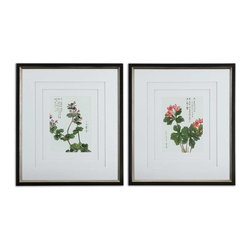 Uttermost - Uttermost Asian Flowers Framed Art Set of 2 - 41513 - Uttermost's art combines premium quality materials with unique high-style design.