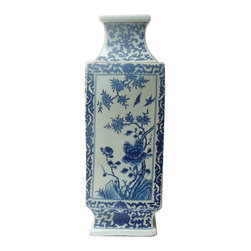 Golden Lotus - Chinese Blue & White Porcelain Square Tall Scenery Vase - This is a traditional Chinese decoration vase in blue & white color with detail combination of oriental lotus flower pattern and scenery theme. ( some blurry on the graphic )