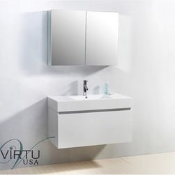 "Virtu USA - Virtu USA 39"" Zuri Single Sink Bathroom Vanity with Polymarble Countertop - Glos - This magnificent, ultra-modern vanity is the perfect example of quality. Take notice in the magnificent finish as well as the high gloss, polymarble basin. If storage is what you're looking for, this vanity contains two drawers on Bellucci soft closing slides that will be sure to hold all of your bathroom essentials. Featuring both design, as well as practicality, the decision to upgrade to this vanity will always be an easy one.Virtu USA has taken the initiative by changing the vanity industry and adding soft closing doors and drawers to their entire product line. By doing so, it will give their customers benefits ranging from safety, health, and the vanity's reliability.FeaturesMain cabinet: 39"" W x 18.5"" D x 23.4"" HMirror/Medicine cabinet: 35.6"" W x 6"" D x 25.6"" HMaintenance-free high gloss polymarble countertop with integrated basinGloss white finishWater resistant low V.O.C sealerPlywood and Composite with MelamineAdjustable slidesMain cabinet: 1 Revealed drawer with BELLUCCI' soft closing slidesMain cabinet: 1 Concealed drawer with BELLUCCI' soft closing slidesMirror/Medicine cabinet: 2 Doors with BLUM' soft closing hingesPre-drilled single hole faucet mountMinimal assembly requiredPS-103 Faucet with Pop Up and Drain Assemblies Included CUPC, UPC and IAPMO Certified Faucet with Limited Lifetime Warranty Lead-Free Faucet Compliant with AB1953 and S152 Eco-Friendly WaterSense Certified 1.5 GPM flow rateHow to handle your counterView Spec Sheet"