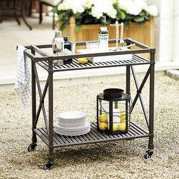 "Ballard Designs - Suzanne Kasler Directoire Bar Cart - Casters for easy positioning. Deep Chocolate finish. Powder-coated to resist rust, fading & chipping. Slatted top and bottom shelf for easy drainage and cleaning. Coordinates with Suzanne Kasler Directoire Collection. In this timeless collection, designer Suzanne Kasler captures the simple, elegant spirit of the Directoire style with classic ""X"" detailing and crisp contours. The Bar Cart is generously sized and sturdily crafted to hold a crowd's worth of glassware, bottles and serving supplies.Directoire Bar Cart features: . . . . . Comes fully assembled."