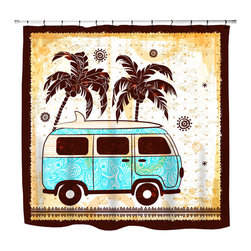 "Surfer Bedding - Eco Friendly ""Surf Bus"" Beach Themed Shower Curtain - ""Surf Bus"" Surfer Shower Curtain from our ""Extremely Stoked"" Surfer Bed and Bath Collection."