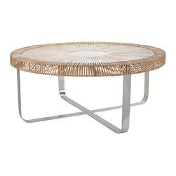 Lazy Susan - Natural Split Rattan Coffee Table - -Glass Top