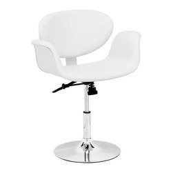 Gene's Swivel Chair in White - Updating your den or family media room with a few key pieces can happen on a budget. Start with smaller pieces like switching out foldable chairs and mismatched stools for this Gene's Swivel Chair.The stool's height is adjustable and with its swivel base, all of your guests can sit comfortably and in style around the bar or island table.
