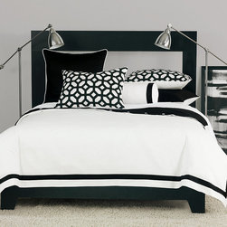 Frontgate - Palmer Duvet Cover - Super Queen - From Eastern Accents Niche collection. Reversible duvet cover features decorative fabric on both sides. Button-tufted and hand-tacked comforters have two layers of decorative fabric with polyester batting secured inside to prevent shifting. Bed skirt has split corners and kick pleats. Dry clean only recommended. Make a statement with the crisp black and white of our Palmer Bedding Collection. With a modern yet versatile style, this collection brings a burst of pattern to the simple white bedding with its thick black border.  .  .  .  .  . Because this bedding is specially made to order, please allow 4-6 weeks for delivery.. Made in USA of imported goods.