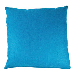 Designer Fluff - Blue Canyon Pillow, 18x18 - When only a solid will do, make it a sumptuous and cozy wool you'll want to cuddle up to. This handmade pillow boasts imported Italian fabric, a neat knife-edge seam and a concealed zipper closure.
