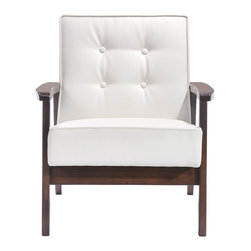 Zuo - Aventura Arm Chair - The Aventura Arm Chair has classic mid-century modern lines that will make you want to linger awhile. This modern lounge chair has a tufted white leatherette body that is as easy to design with as it is to live with. With a perfectly relaxed angle, the Aventura sits atop a solid natural wood base with a walnut finish. This unfussy design is excellent for a reading chair. Or choose two for a set of occasional chairs in the living room or office. Let the Aventura Occassional Chair add sophisticated seating to your modern lounge area. The Aventura Collection also features a sofa.