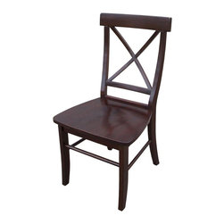 International Concepts - X-Back Chair w Solid Wood Seat - Set of 2 - Set of 2. Box seat construction. Made of solid wood. Assembly required. 20.88 in. W x 18.5 in. D x 36.25 in. H (42 lbs.). Seat height: 17.5 in.