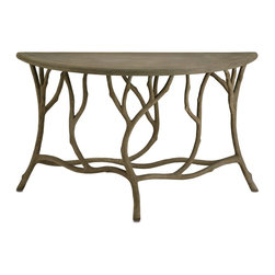 Currey & Company - Hidcote Console Table - The traditional technique of faux bois, involving hand-applying concrete over a metal mesh frame, is used to create this console table that appears to sprout and grow right out of the ground. The piece is completed with a warm Portland finish.