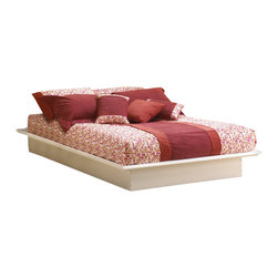 South Shore - South Shore Newbury White Wood Platform Bed 2-Piece Bedroom Set - South Shore - Bedroom Sets - 3050PKG
