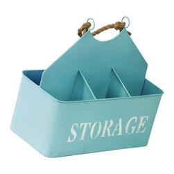 Metal Storage Basket w/ Rope Handle and 4 Shelves - Sky Blue - *Metal Storage Basket with Rope Handle and 4 Shelves Sky Blue