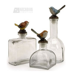iMax - iMax 27503-3 Maco Bird Bottles - Delightfully chipper glass bottles with jeweled song bird stoppers