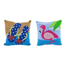 Zeckos - Pair of Tropical Throw Pillows- Flamingo and Flip Flops - This set of adorable pillows features a vibrant pink flamingo and cute polka dot flip flops. The pillow's stitched patterns have the warm appearance of home-style craftwork. The 100% polyester pillows measure a square 10 inches with a 5 inch depth of polyester filling. This pair makes a lively tropical home accent that will add a splash of color to any beach themed room.