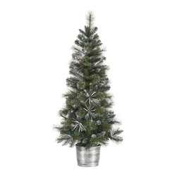 Vickerman 5 ft. Frost White Mix Tip Pre-Lit Christmas Tree - Lush and full, the Vickerman 5 ft. Frost White Mix Tip Pre-Lit Christmas Tree appears to have come straight from a winter wonderland to your home. Frosted pinecones decorate the snow-tipped branches while 150 lights show off the beauty and elegance of this tree. Specifications for 5-Foot White Mix Tip Pre-lit Tree Shape: Medium Base Width: 28 inches Number of Bulbs: 150 Number of Tips: 276 Don't Forget to Fluff!Simply start at the top and work in a spiral motion down the tree. For best results, you'll want to start from the inside and work out, making sure to touch every branch, positioning them up and down in a variety of ways, checking for any open spaces as you go.As you work your way down, the spiral motion will ensure that you won't have any gaps. And by touching every branch you'll create the desired full, natural look. About VickermanThis product is proudly made by Vickerman; a leader in high quality holiday decor. Founded in 1940; the Vickerman Company has established itself as an innovative company dedicated to exceeding the expectations of their customers. With a wide variety of remarkably realistic looking foliage; greenery and beautiful trees; Vickerman is a name you can trust for helping you create beloved holiday memories year after year.