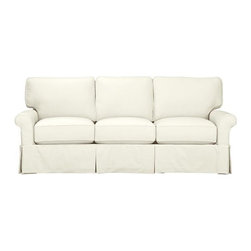 Bayside Queen Sleeper Sofa - Casually dressed with cottage style, Bayside really knows how to take life easy. Its deep-cushioned, relaxed attitude fits any room, while its machine-washable skirted slipcover takes on everyday living. Petite rolled arms, deep seat and high back cushions sit big and comfortable.