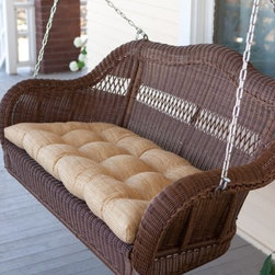 Casco Bay Resin Wicker Porch Swing - Walnut - The Casco Bay Resin Wicker Porch Swing - Walnut is the perfect place to spend mornings afternoons or evenings enjoying the weather. Constructed from a powder-coated steel frame this porch swing can hold up to 300 lbs. The all-weather wicker is resistant to the elements and the included hanging chains are incased in plastic tubular sleeves to keep from getting tangled or pinching fingers. Swing dimensions: 43L x 19W in. 55L x 30W x 24H inches.