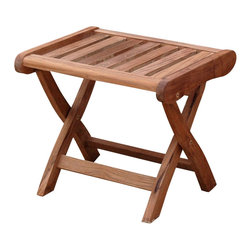 Anderson Teak - Katana Footstool - Unfinished - Teak wood construction. 19 in. L x 18 in. W x 17 in. H (16 lbs.)