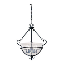 Sea Gull Lighting - Sea Gull Lighting 6501-07 Six-Light Manor House Pendant - The weathered iron finish comes alive as light shines through seeded glass with country grace and sophistication. Weathered Iron Scroll Work and Clear Seeded Glass Combine Grace and Charm in Simple Six Light Pendant Chandelier.