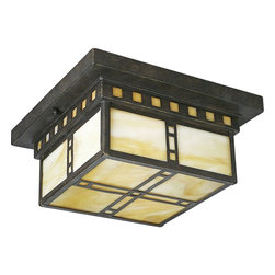 Progress Lighting - Progress Lighting Arts & Crafts Traditional Flush Mount Ceiling Light X-64-3153P - Clean angles, geometric patterning and a grid-style design draw the eye up to this mission inspired Progress Lighting flush mount ceiling light. From the Arts & Crafts Collection, this stunning design blends light honey art glass window panes with a rich Weathered Bronze finish that compliments the golden undertones and pulls the look together.