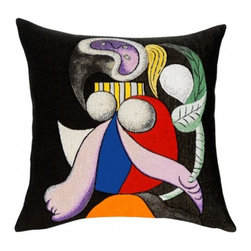 Decorative Pillow, Picasso- Femme a La Fleur (1932) - This French tapestry pillow from Jules Pansu, portrayed womanhood blossoms in this Picasso's 1932 painting, Femme