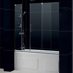 """BathAuthority LLC dba Dreamline - Mirage Frameless Sliding Tub Door, 56 - 60"""" W x 58"""" H, Chrome - The Mirage tub door delivers a unique design and the look of custom glass at an unbelievable value. Most sliding shower doors require substantial aluminum framing, but the Mirage uses innovative hardware to provide the space-saving benefits of a sliding door without compromising the beauty of a completely frameless glass design."""