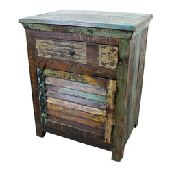 Mexicali Rustic Wood Night Stand - This is the Mexicali Rustic Wood Nightstand. Made from recycled wood, 100% solid and Heavy making each one truly original and one-of-a-kind! Every piece in this line is beautiful and will add color and class to any room in the home. Expecting some slight variations in color makes this adventure All that more exciting. Dimensions: 25'' l x 30'' h x 17'' w