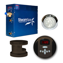 Spa World Corp - Steam Spa Indulgence Package for Steam Spa 6kW Generators in Oil Rubbed Bronze - With this advanced package you will get everything you need and more to begin experiencing a deep relaxing steam sauna right in your very home.  Included with this package is the aroma steamhead for bathing in your favorite fragrance and a white LED lighting system that is fully controlled and adjustable with the included control panel making for a perfect sauna experience. And a perfect steam sauna experience is exactly what we had in mind with Steam Spa's Steam Generators. Easy to install and even easier to operate these steam generators produce a consistent flow of soft and soothing steam thanks to the cleverly designed dual tank technology while minimizing any distracting operational noises. Compact in size and design Steam Spa's generators are suited for use with any bath or shower room with plenty of sizes and accessory options to make sure there is a perfect setup to meet your needs. As easy to install and operate as our generators already are, the featured Auto Drain system takes care of the maintenance by purging the generator of any excess water/minerals that would later contribute to issues down the line. All in all you get a safe, quite, reliable, luxurious steam sauna experience with our compact powerhouse of a steam generator.