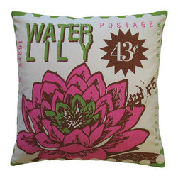 Koko Company - Koko Company Postage Waterlily Decorative Pillow Multicolor - 91689 - Shop for Pillows from Hayneedle.com! Postage never looked so pretty thanks to the Koko Company Postage Waterlily Decorative Pillow. Modeled after a vintage postage stamp you'll love the exotic water lily motif and its lime and fuchsia color scheme. When spring cleaning rolls around you can even toss this pillow's cotton cover in the washing machine with gentle cycle and low water temperature recommended.About The Koko CompanyFor over 10 years The Koko Company has been pouring heart and soul into bringing you a vibrant diverse collection of pieces to suit your unique style. From pillows and bedding to rugs and throws every piece is both versatile and distinctive each playing its own part in a grander global vision. Located in Long Island City NY but influenced and inspired by an array of cultures and fashions The Koko Company strives to bring the subtle elegance of natural fibers and organic design to your home accents.