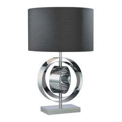 Minka George Kovacs - Minka George Kovacs Decorative Portables 1-Light Chrome Black Glass Table Lamp - This 1-Light Table Lamp has a Chrome Finish and Black Glass.