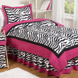 Sweet Jojo Designs - Sweet Jojo Designs Girls 'Funky Zebra' 3-piece Full/Queen Comforter Set - Give your child a burst of style and color with this fun zebra comforter set by Sweet Jojo Designs. With a bold pink trim and trendy zebra stripes,this cozy comforter is the perfect way to give your daughter the personalized touch she craves.