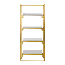 Worlds Away Shadow White Étagère - This gorgeous piece is sleek, versatile and glamorous all at once! I would display just a few objects on the shelves to really make it shine.